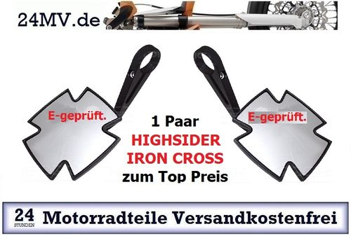 1 Paar HIGHSIDER Lenkerendenspiegel IRON CROSS